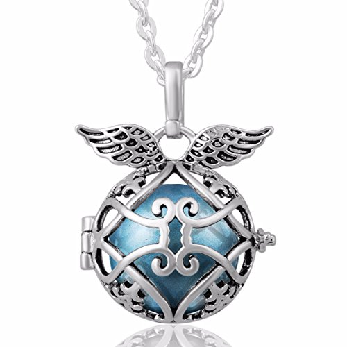 EUDORA Harmony Bola Angel Wing Locket Pandent Necklace 18mm Musical Chime Ball & 30'' Chain cornflower blue -
