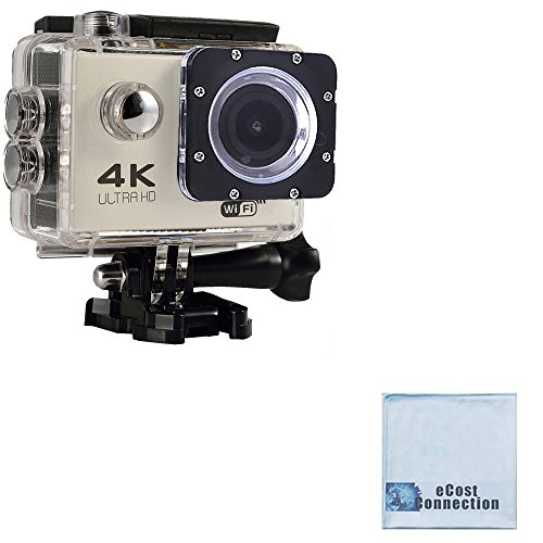 eCostConnection 4K Ultra HD 12MP WiFi Waterproof Sports Action Camera (Silver) with Anti-Shake DSP + eCostConnection Microfiber Cloth