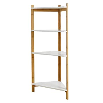 UPDD-Home 4-Tier Bamboo Corner Shelf, Multifunctional Storage Rack, Narrow  Shelving Unit, Bathroom Shelf, Wood Corner Rack, for Kitchen, Livingroom,  ...