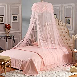 Princess Lace Bedding Mosquito Net Canopy Bites Protect for Twin Queen Size Canopies (Light Pink)