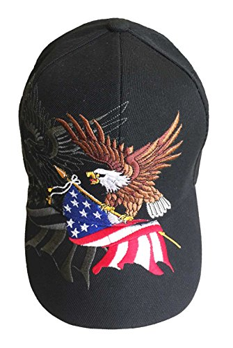 - Patriotic American Eagle and American Flag Baseball Cap with USA 3D Embroidery (Black)
