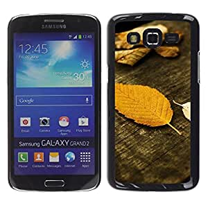 FECELL CITY // Duro Aluminio Pegatina PC Caso decorativo Funda Carcasa de Protección para Samsung Galaxy Grand 2 SM-G7102 SM-G7105 // Autumn Wood Grain Nature