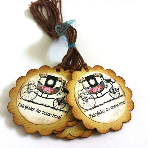 Fairytales Do Come True Wedding Favor Tags - Vintage Bridal Shower Carriage Gift Tags - Set of ()