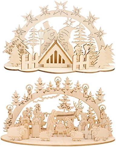 Tomaibaby Natale Presepe in Legno Presepe in Legno Ornamento Joseph Presepe Figurine Pittura Fai da Te Pupazzo di Neve Coppia Scena Decor for Kid Adult Tableop Desk Craft Christmas