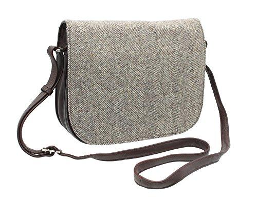 Skin Bad Collection Abertweed Leather And Herringbone Tweed Herringbone Shoulder Bag 748_40