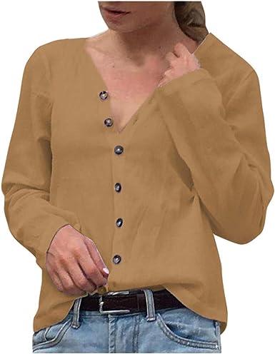 Darringls Camisetas para Mujer, Mujer Manga de murciélago Moda Mujer Invierno Manga de murciélago sólido Tops Blusa botón Cuello en V (Caqui, XL): Amazon.es: Ropa y accesorios