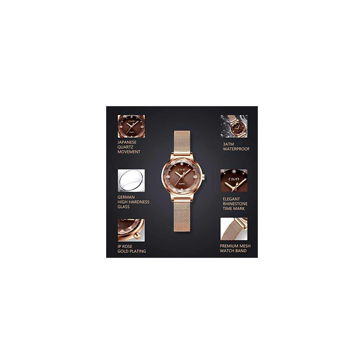CIVO Women's Watches Rose Gold Ladies Waterproof Watch Stainless Steel Mesh  Analog Quartz Wrist Wacthes for Woman Fashion Ultra Thin Simple Design
