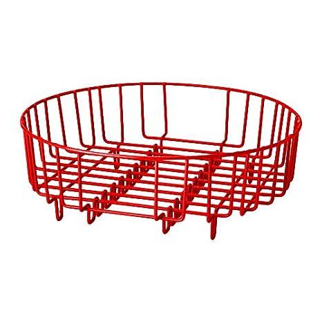 Heavy Duty in acciaio inox, diametro 37 cm, 2 in 1 scolapiatti/risciacquo Basket (adatto per quasi tutti i lavandini & commerciale interno rotondo/rettangolare) Black diametro 37cm Verdi VIDCB1