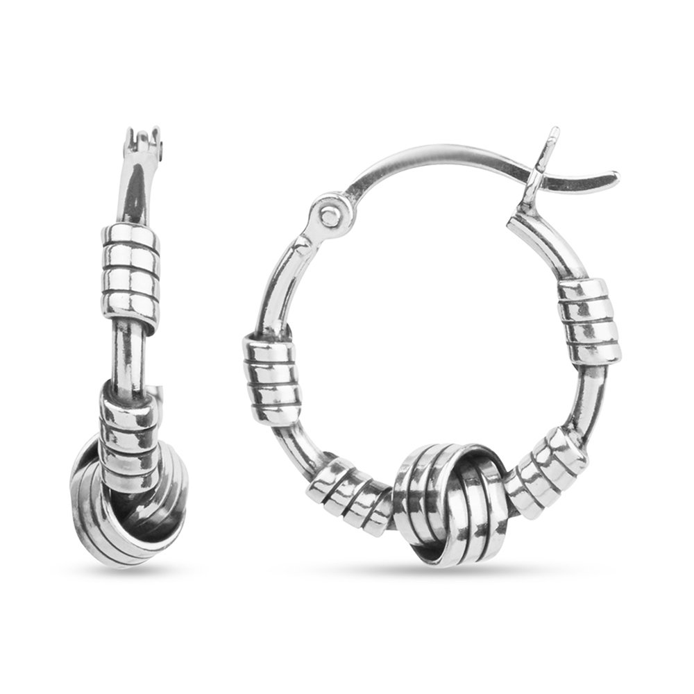 LeCalla Sterling Silver Jewelry Italian Design Bali Style Love Knot Ring Hoop Earrings for Kids and Girls