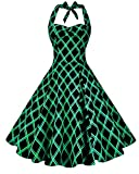 Anni Coco Women's Marilyn Monroe 1950s Vintage Halter Swing Tea Dresses Green Stripes Diamond-Shaped Small