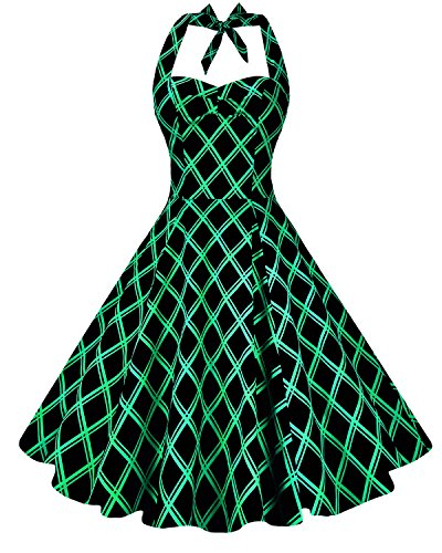 Anni Coco Women's Marilyn Monroe 1950s Vintage Halter Swing Tea Dresses Green Stripes Diamond-Shaped Large (1950s Pin Up Costume)
