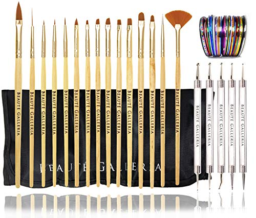 Beaute Galleria Bundle 50 Pieces Nail Art Tool Kit with Pouch - 5 Pieces Dotting Tool Marbleizing Pen (10 Sizes), 15 Pieces Acrylic Gel Detailing Painting Brushes Liners, 30 Pieces Striping Tapes (Marbling Art Nail Tool)