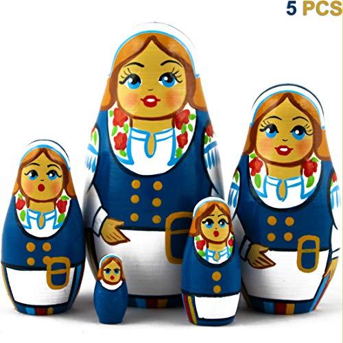 MATRYOSHKA&HANDICRAFT Set 5 pcs Nesting Dolls Finnish Folk Dress