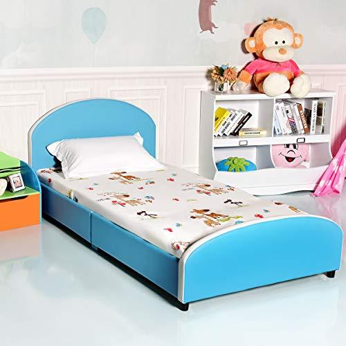 Costzon Kids Bed, Upholstered Platform, Wood Bedframe, Sleeping Bedroom Furniture, Perfect for Teens & Boys, (Wood Kids Twin Bed)