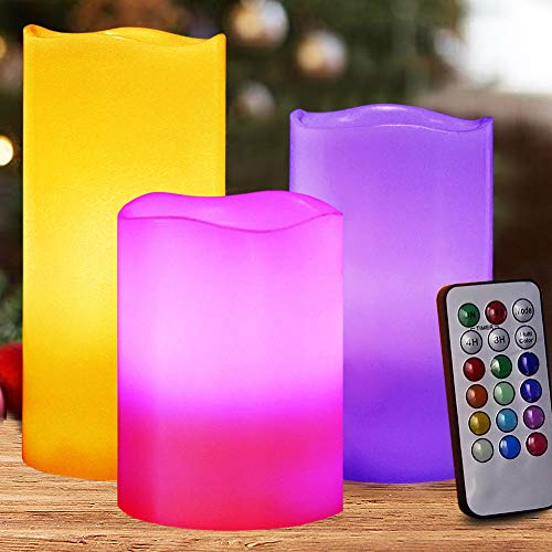 HOME MOST Set of 3 Flickering Real Wax Flameless LED Pillar Candles with Remote 3x4 3x5 3x6 Multi Colored - Unscented Battery Operated Pillar Candles Bulk - Color Changing Candles HM3 ()