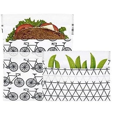 Lunchskins Reusable 2 Piece Food Storage Bag Set, 1 Sandwich Bag + 1 Snack Bag, Charcoal Bicycle
