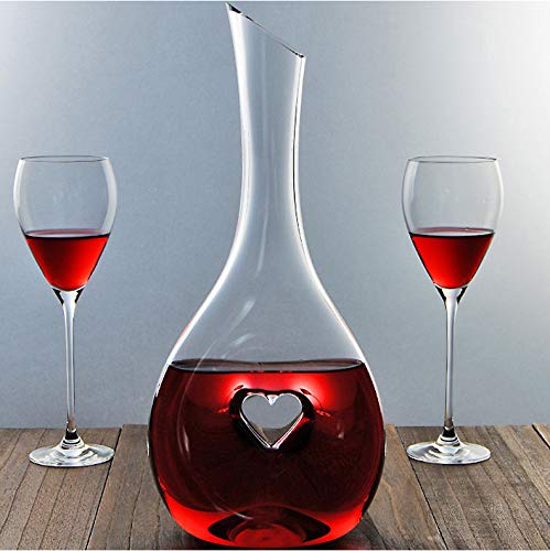 Nines Sun Red Wine Decanter Red Wine Carafe Hand Blown Lead-Free Crystal Glass Wine Aerator Easy Pour Designed for Decanting Red Wines with a Capacity of 1000ml