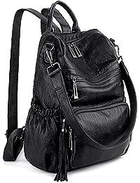 Women Backpack Purse PU Washed Leather Convertible Ladies Rucksack Tassel Zipper Pocket Shoulder Bag