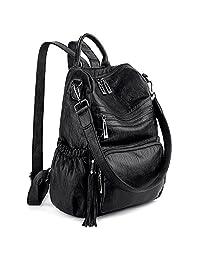 UTO Women Backpack Purse PU Washed Leather Convertible Ladies Rucksack Tassel Zipper Pocket Crossbody Shoulder Bag CA