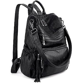 2c62942be8 UTO Women Backpack Purse PU Washed Leather Convertible Ladies Rucksack  Tassel Zipper Pocket Shoulder Bag A Black
