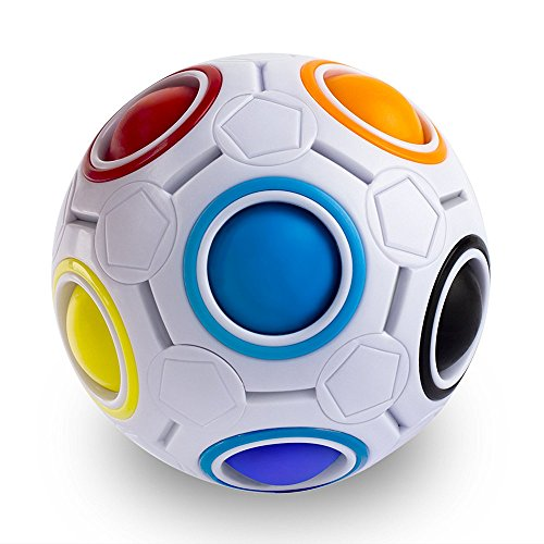 Jozabova Fidget Ball Rainbow Magic Ball Puzzle Spherical Cube 3D Fidget Roll Toy Intelligence Educational Toys Cubes Stress Reliever Twist Puzzle Toys for Kids and Adults (Rainbow Ball)