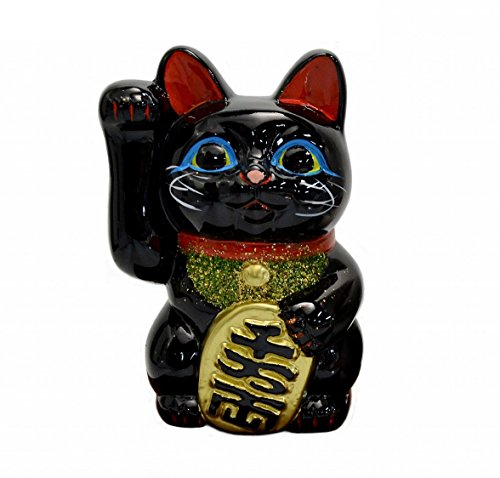 Made in Japan Lucky Cat 5.1 Tokoname Porcelain Black Maneki Neko Right Hand