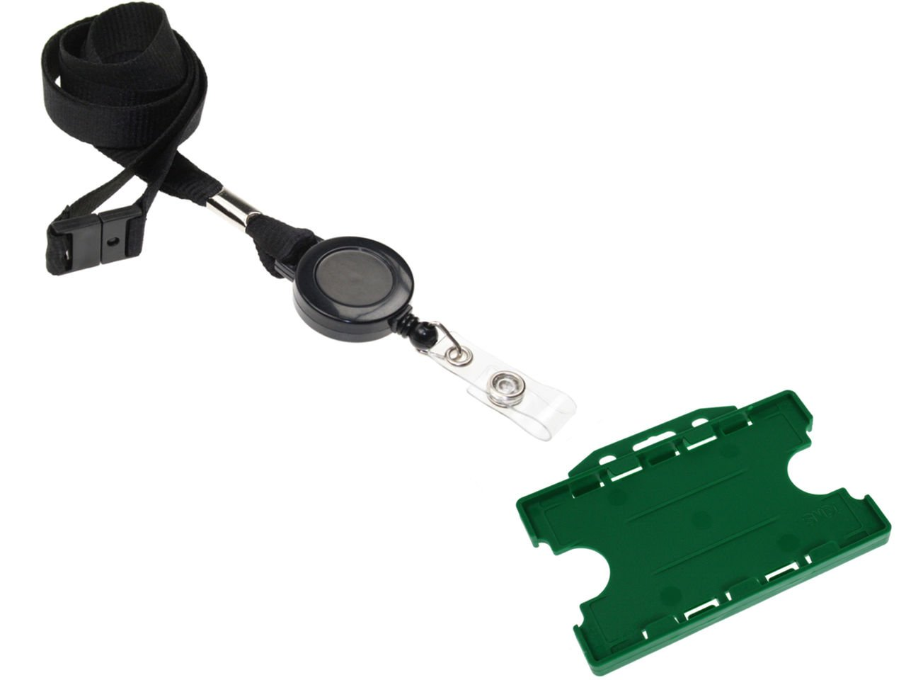 ID Card It Dark Green ID Badge Holder 2-sided, with Black Lanyard Neck Strap and Integrated Yo-Yo Badge Reel - 100