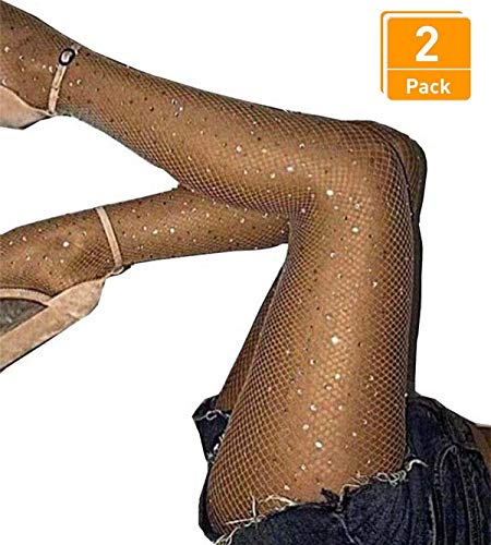 Women's 2 Pair /3 Pair Sparkling Fishnet Stockings Rhinestone High Waist Tights Crystal Mesh Hollow Out Pantyhose (Nude,Small Hole-2 Pair, One Size) ()
