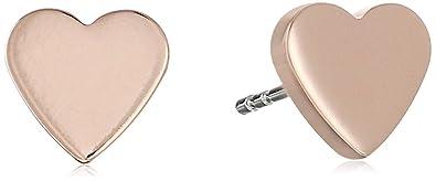 3e9180821 Amazon.com: Fossil Rose Gold-Tone Heart Stud Earrings: Jewelry