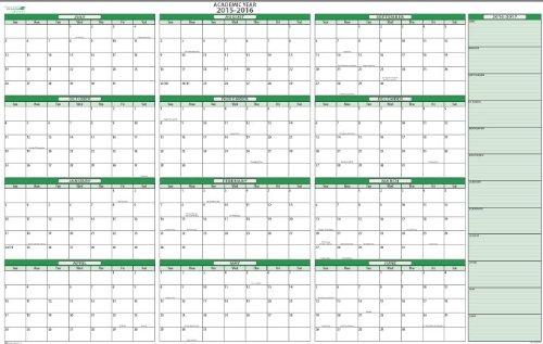 """2015-16 Dry/Wet-Erasable Academic Wall Calendar Kit: Horizontal 24"""" x 36"""""""