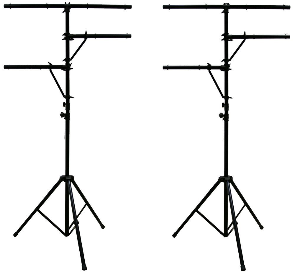 ASC (2) Pro Audio Mobile DJ Lighting Multi Arm T Bar Portable Light Stand up to 12 Foot Height Tripod by American Sound Connection