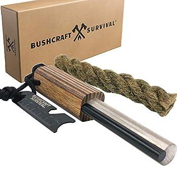 Bushcraft Survival Jumbo Magnesium Rod and Ferro Rod Combo