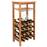 Smartxchoices 16 Bottle Wine Rack with Glass Holder, Table Top Wine Rack Shelf Free Standing Floor Wine Storage Holder Display Shelves (Natural, Bamboo)