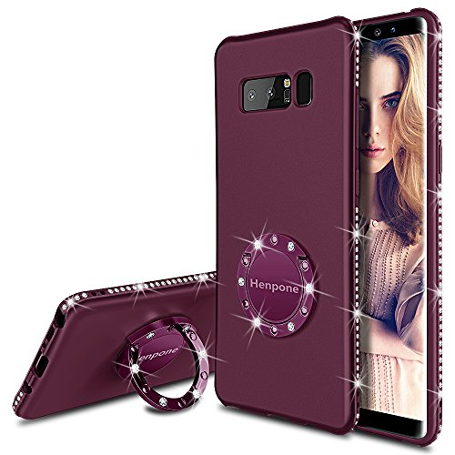 Henpone Samsung Galaxy Note 8 Case, Glitter Phone Case for Women Girls with Kickstand Ring Stand Holder Cute Girl Sparkly Luxury Bling Diamond Protective Cover Note 8 Cases - Purple