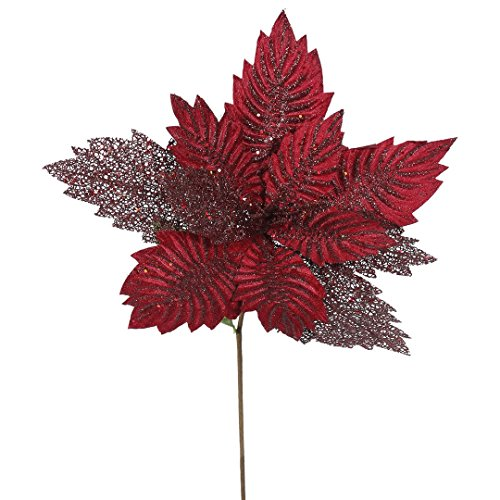 Vickerman QG162105 Poinsettia with 15