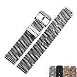 Zhuolei Stainless Steel Thick MIlan Mesh Strap ARMANI/CK/CASIO Replacement 18/20/22/24mm (Silver-18mm)