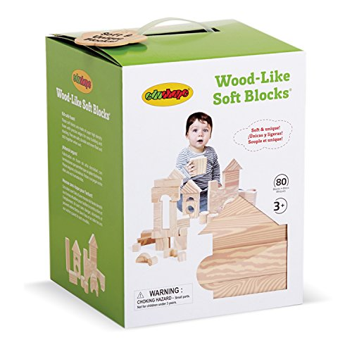 Edushape Wood Like Soft Blocks, 80 Piece Foam Wooden Blocks