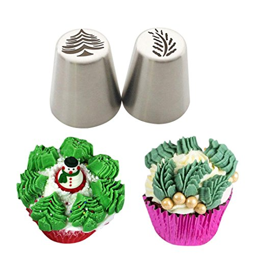 Cake Decorating Tips Accessories - Cake Mould,Hunzed 2pcs Christmas Steel Cake Lcing Piping Cake Mold Decorating Nozzles Tips Baking Tool