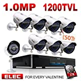 ELEC 8CH 960H DVR 8-Channel 1200TVL Home CCTV Surveillance Security Camera System with 1TB HDD, Free App Remote Viewing, Remote Access on Mobile, Night Vision (8 Cameras) For Sale