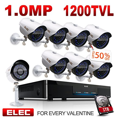 ELEC 8CH 960H DVR 8-Channel 1200TVL Home CCTV Surveillance Security Camera System with 1TB HDD, Free App Remote Viewing, Remote Access on Mobile, Night Vision (8 Cameras)