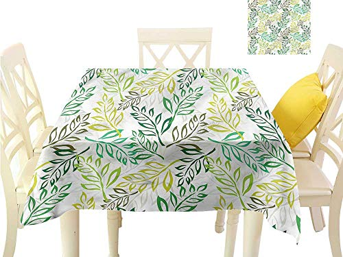 WilliamsDecor Small Square Tablecloth Leaf,Colorful Retro Organic Nature Non Slip Tablecloth W 60