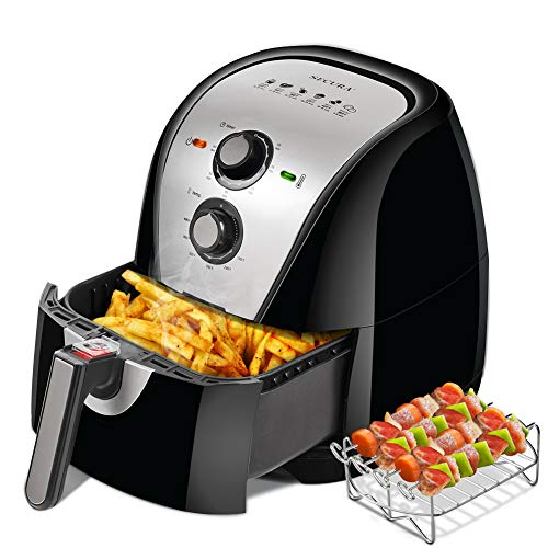 Secura Electric Hot Air Fryer Extra Large Capacity 5.0L / 5.3Qt XL Air Fryers and Additional Accessories, Recipes and Skewers Accessory Set, Sliver