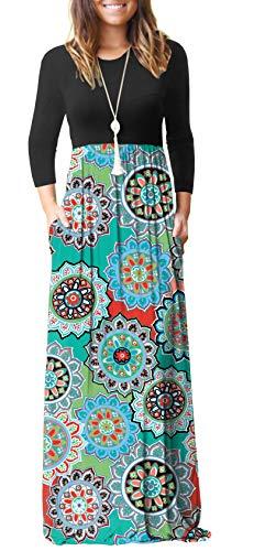 GRECERELLE Women's Long Sleeve Loose Plain Floral Print Maxi