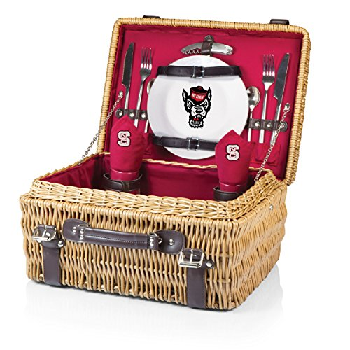 NCAA North Carolina State Wolfpack Champion Picnic Basket with Deluxe Service for Two, Red (Wine Gift Baskets North Carolina)