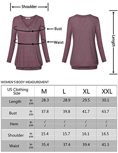 Hellmei Trendy Tops for Women 2018,Breastfeeding Shirts for Women, Long Sleeve Banded Hem Pleated Flattering Blouse Tunic Shirts for Women Black Grey Medium by Hellmei (Image #3)