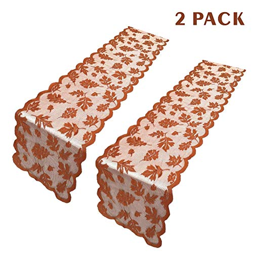 ibohr 2 Pack Thanksgiving Table Runner with Maple Leaves Lace Festival Table Runner Thanksgiving Table Decorations for Parties & Gatherings, 100% Polyester, 13x72 Inch