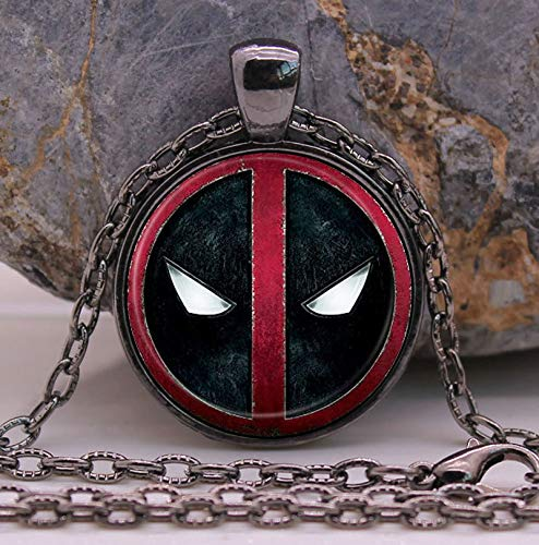 Mens necklace Hero Deadpool Necklace Gifts Glass Necklace Pendant Sweater Chain Gift