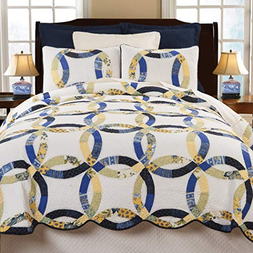 (N2 2 Piece Blue Yellow Wedding Ring Theme Quilt Twin Set, Intertwining Rings Bedding Trimmed Scalloped Edges Vermicelli Quilting Geometric Medallion Shabby Chic Floral Ring Flowers, Cotton)