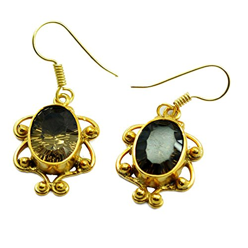Gold Plated Natural Smoky Quartz Earring Velantines Day Gifts Jewelry For Women Unique Design Handmade (Velantine Gift)