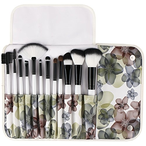(UNIMEIX Makeup Brush Premium 12 Pieces Makeup Brushes Set Foundation Powder Contour Concealer Blending Eyeshadow Professional Bursh Set with Floral Case)